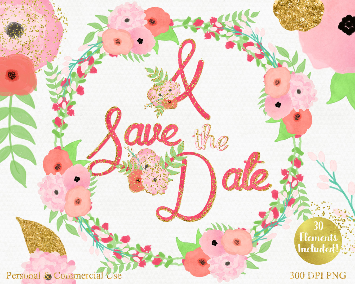 Peach Flower clipart blush flower Floral THE Gold DATE Use
