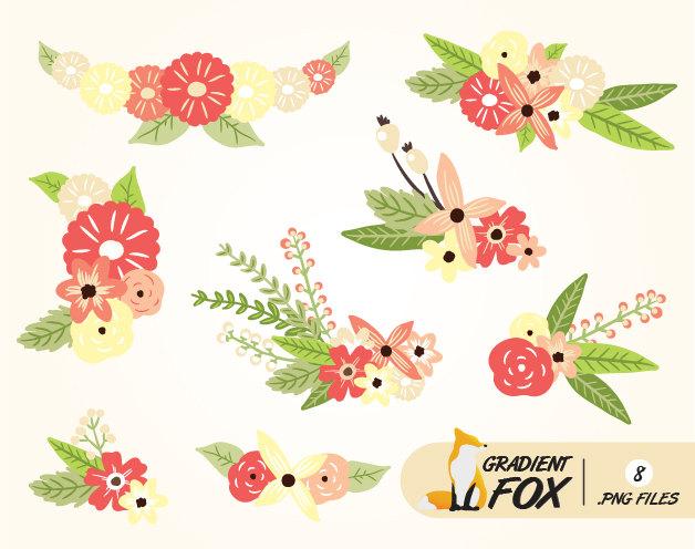 Peach Flower clipart floral wedding Floral a Flowers Clipart