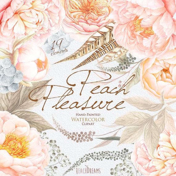 Peach Flower clipart floral wedding Par mariage de cliparts voeux