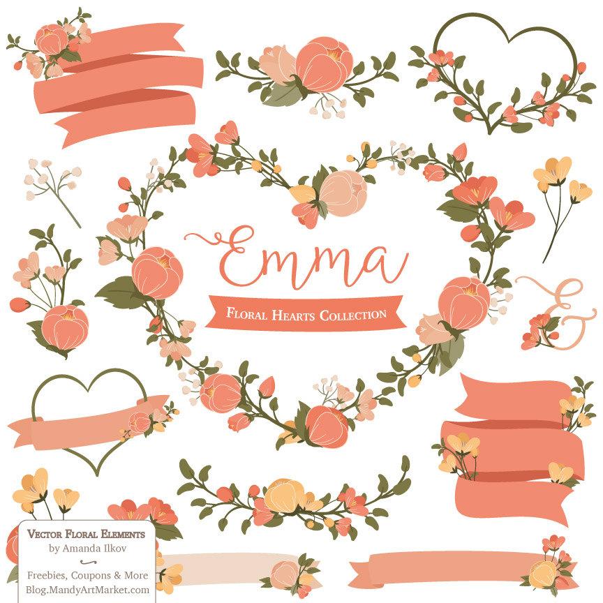Peach Flower clipart floral wedding Clipart a Vectors orange Heart