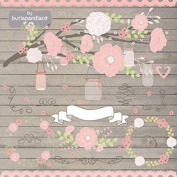 Peach Flower clipart floral wedding Invitation 48 cliparts best Pinterest