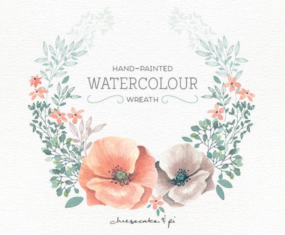 Peach Flower clipart floral wedding Flower wreath: /  painted