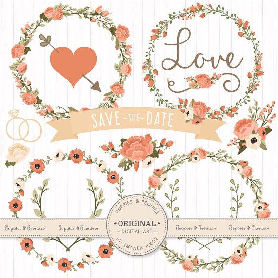 Peach Flower clipart floral wedding Wedding Vectors Floral Antique Wedding
