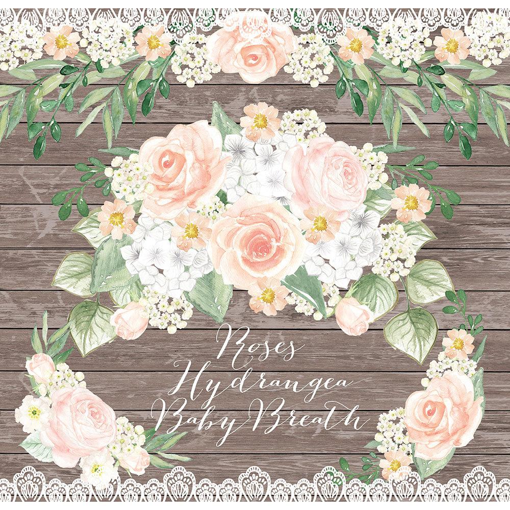 Peach Flower clipart floral wedding Pink Watercolor Blush Rose Peach