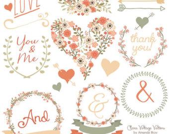 Wedding Clipart Chic Floral Peach