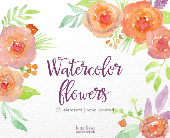Peach Flower clipart orange Watercolor Clipart flowers watercolor flower