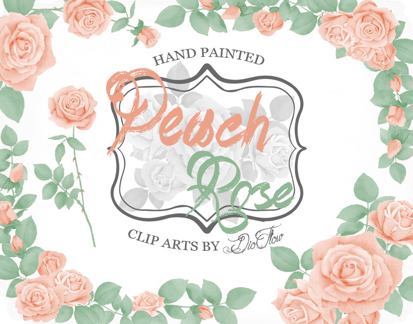 Peach Flower clipart peach color Digital clipart This  mint