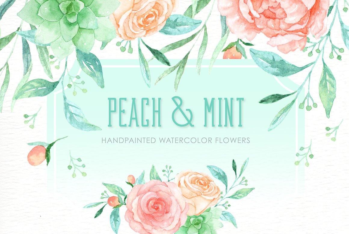 Peach Flower clipart peach color Watercolor Fonts Peach Templates mint