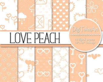 Peach Flower clipart peach heart Frames scrapbook & hearts