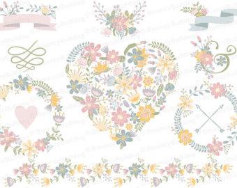 Peach Flower clipart peach heart Jar wreath tree set clipart