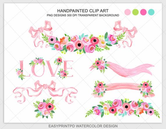 Peach Flower clipart peach heart Peach Wedding Flowers Pastel Bow
