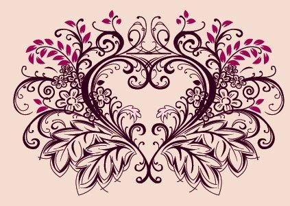 Peach Flower clipart peach heart Heart lace Vector flowers material