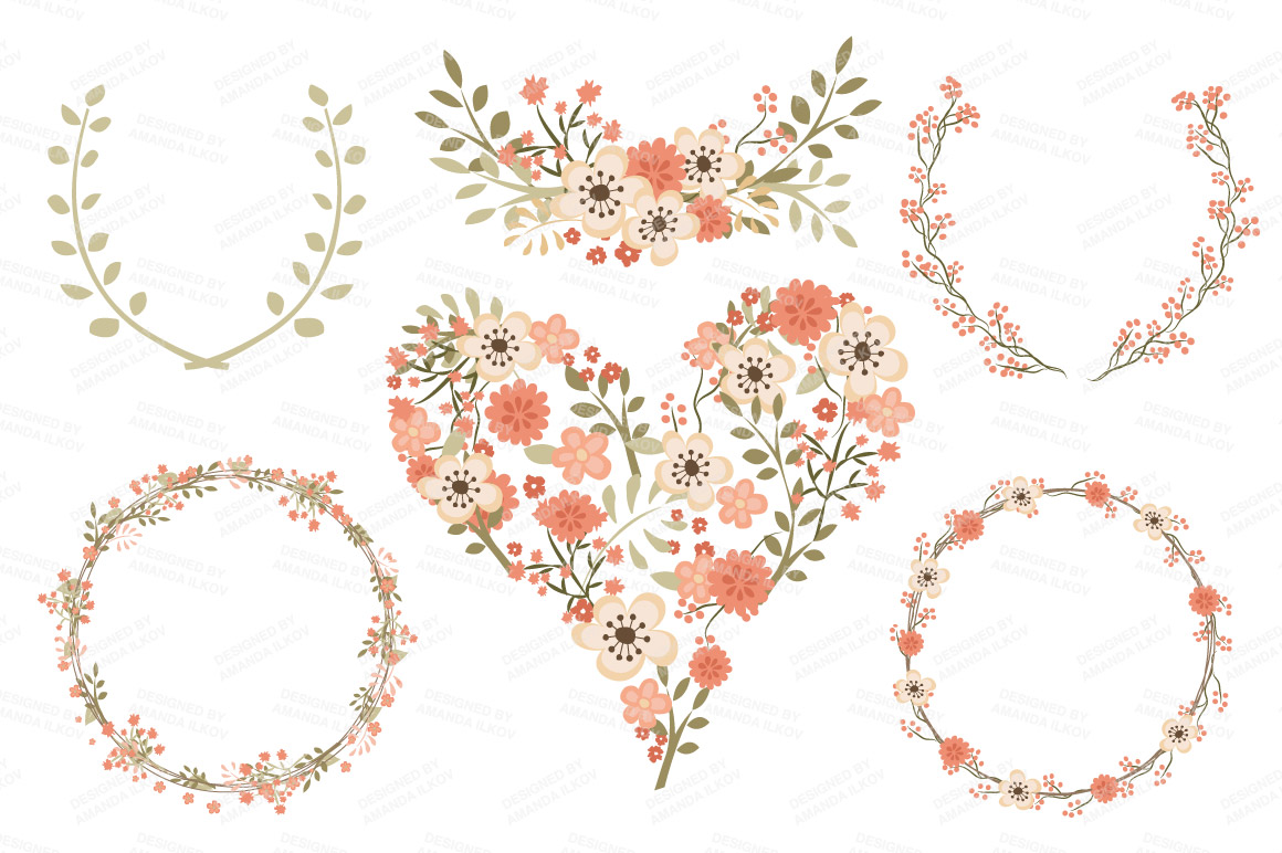 Peach Flower clipart peach heart By Peach in Floral Clipart