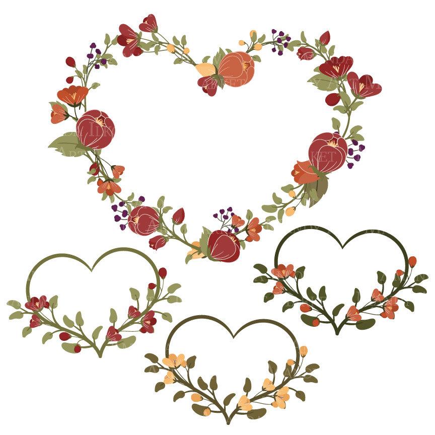 Peach Flower clipart peach heart & orange Floral Heart flowers
