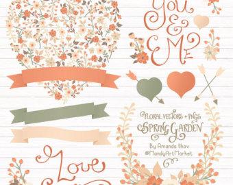 Peach Flower clipart peach heart Heart Soft Floral in Floral