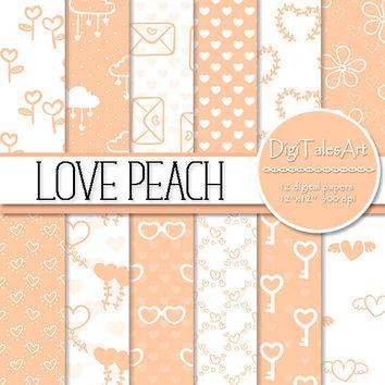 Peach Flower clipart peach heart Scrapbook hearts Clipart heart Flower