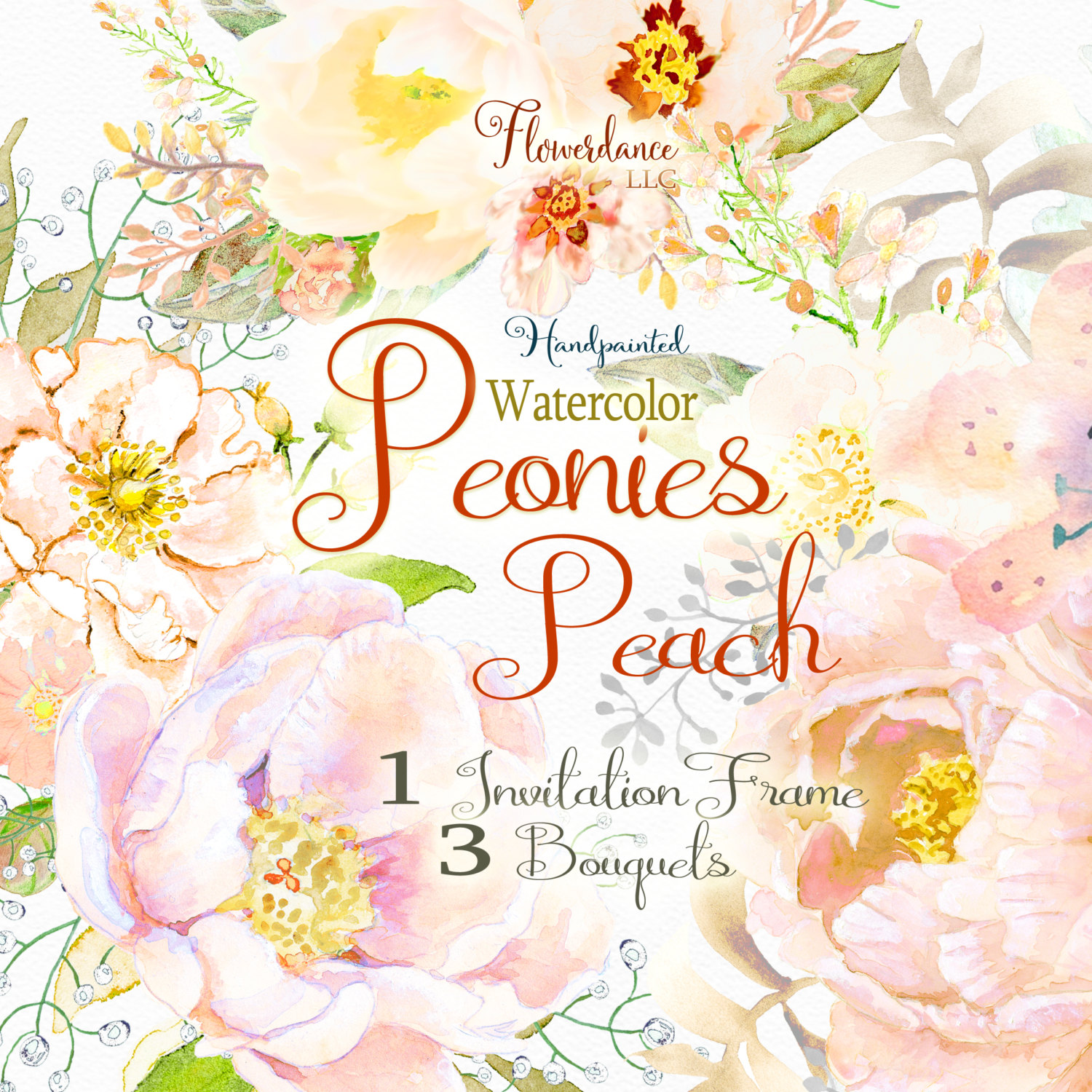 Peach Flower clipart peony Peony bouquet This floral file