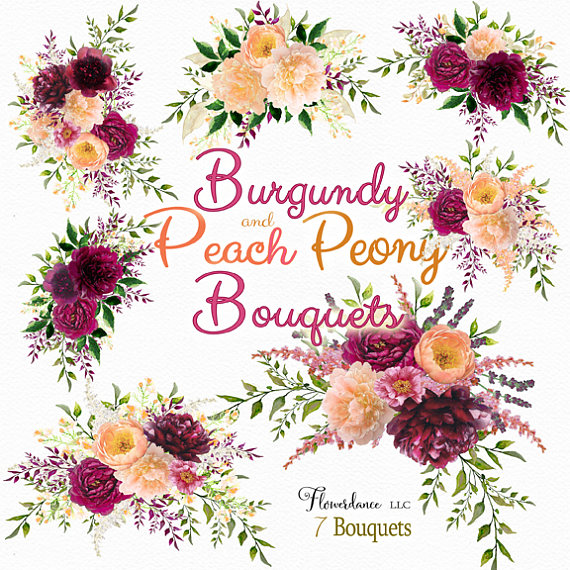 Peach Flower clipart peony Burgundy peony This clipart file