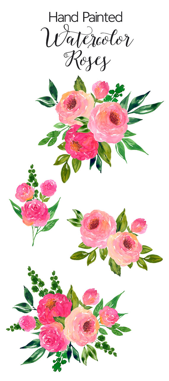 Pink Rose clipart painted On Etsy Flower ArtDownload Art