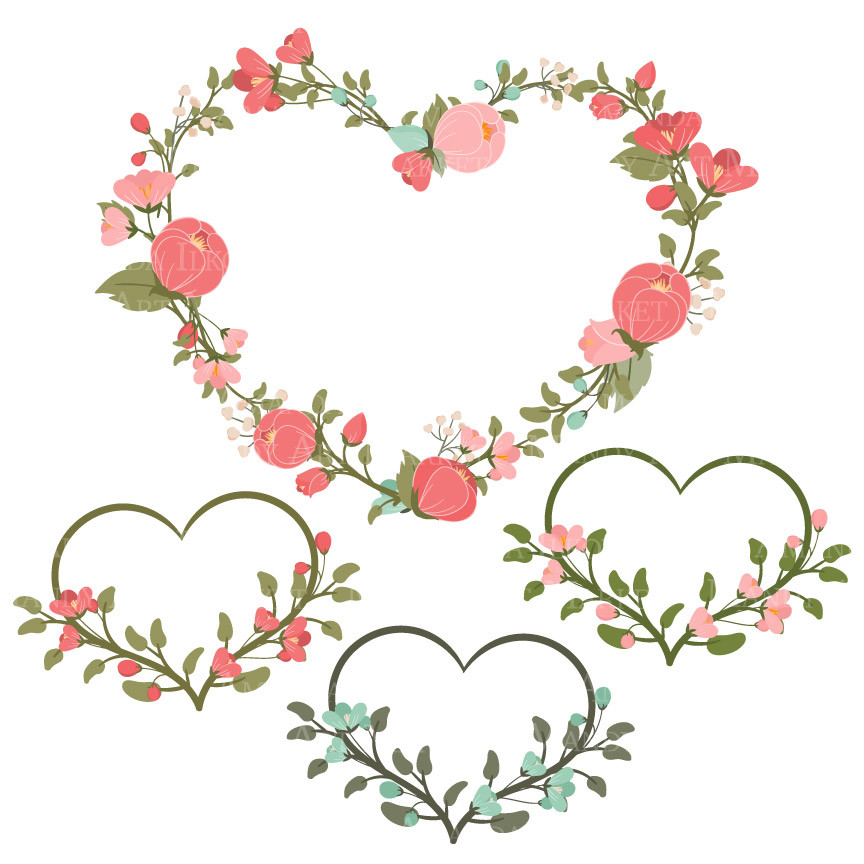 Clipground clipart Coral flower wreath