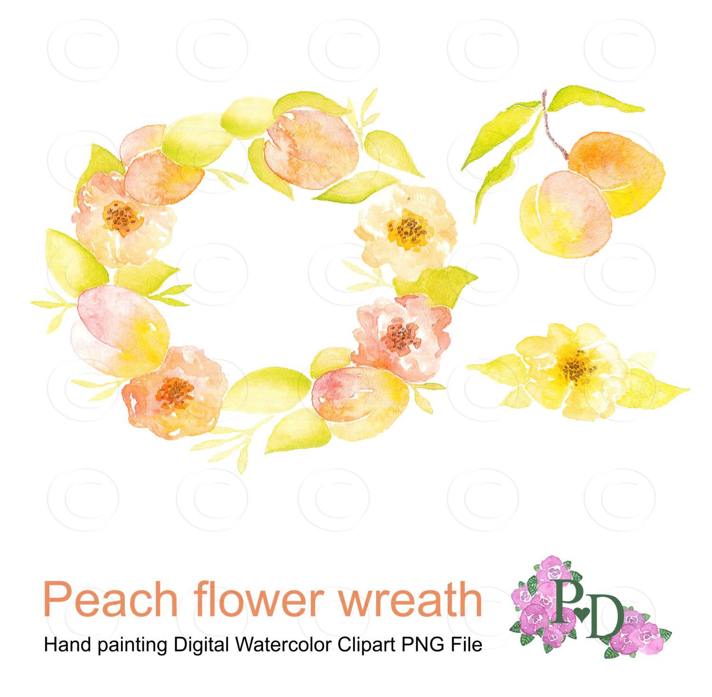 Peach Flower clipart watercolor Watercolor item? Fruit Wreath Art