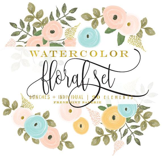 Peach Flower clipart watercolor Watercolor clipart flowers clipart clipart