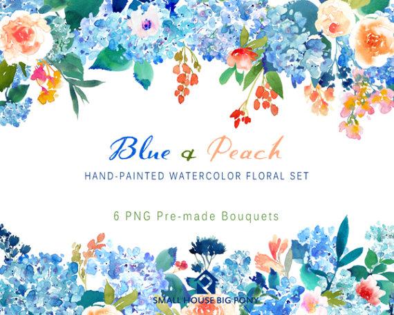 Peach Flower clipart watercolor & Bouquets Clip SmallHouseBigPony art
