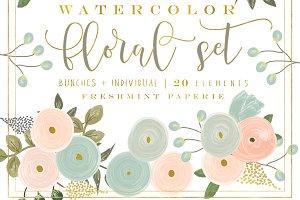 Peach Flower clipart watercolor  Photos floral set flowers