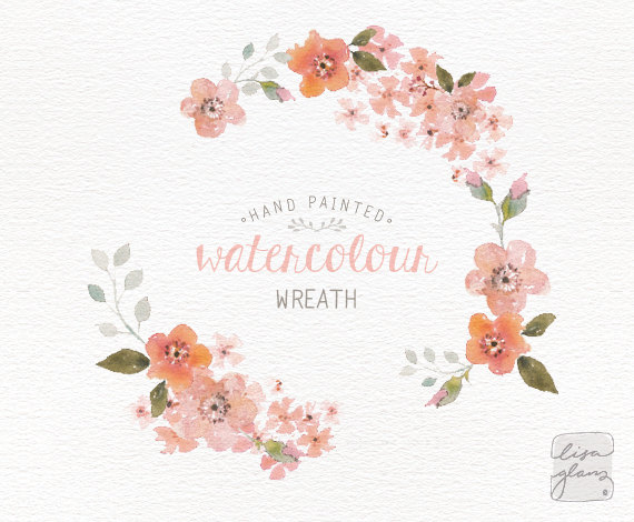 Wreath clipart watercolor Painted hand wreath art floral
