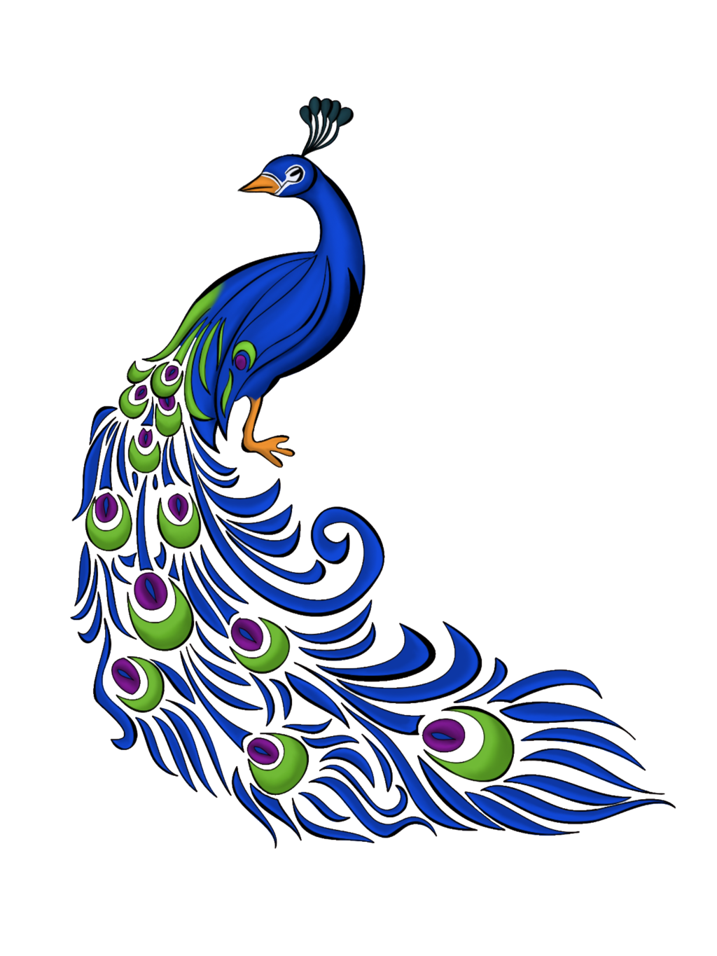 Drawn peacock colour full Panda Clipart Images Clipart Free