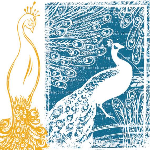 Peacock clipart art brush Digital is + Printable file