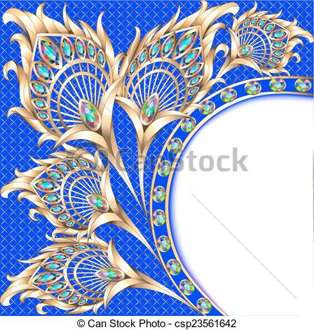 Peacock clipart background Feather Vector background gold EPS