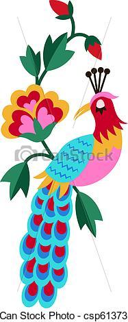 Peacock clipart bird flower Csp6137384 Stock  Drawing Illustration