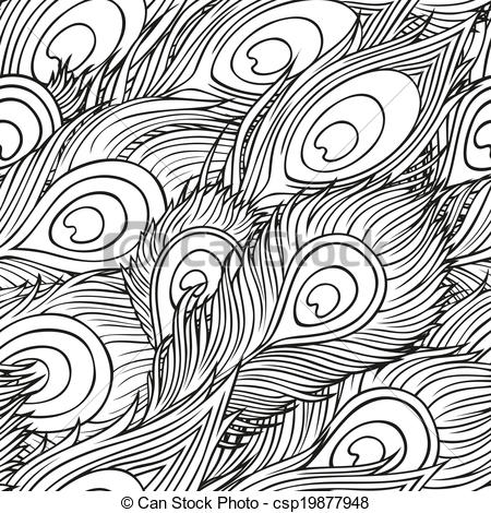 Peacock clipart free hand drawing Drawn Vintage hand feathers Vector