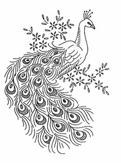 Peacock clipart free hand drawing Embroidery// A Peacock pattern Peacock