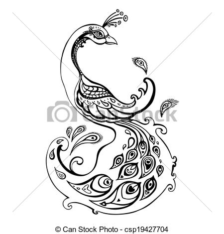 Peacock clipart free hand drawing Decorative  Decorative csp19427704 Clipart