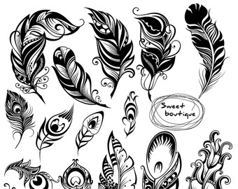 Peacock clipart tribal Digital Silhouettes Digital feathers Clip