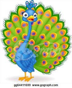 Peacock clipart big  Cute Cartoon Cute Peacock