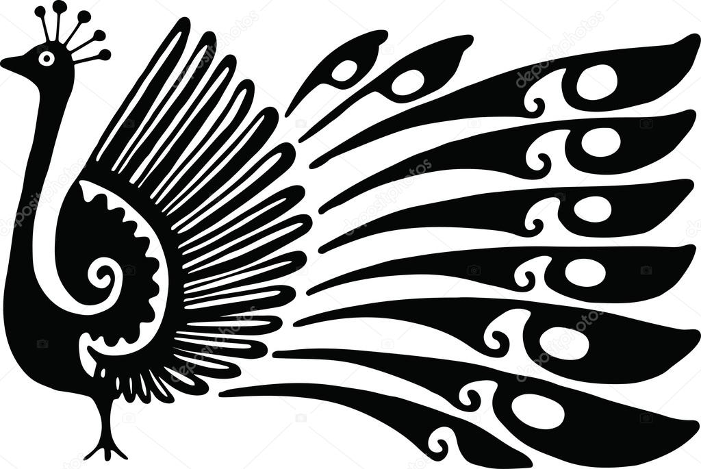 Peafowl clipart black and white By Peacock Vector — a