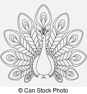Peafowl clipart black and white Clip vector Peacock Peacock abstract