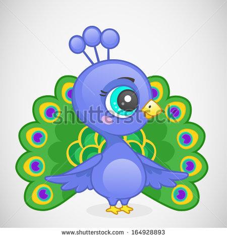 Peafowl clipart cute  Vector Cartoon Stock Peacock
