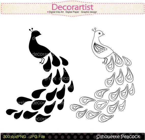 Black & White clipart peacock Clip DOWNLOAD clip 45 Silhouette