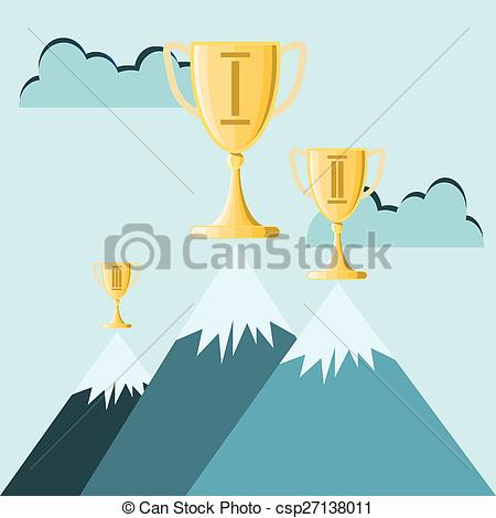 Peak clipart high mountain Atop Art trophy Vector Clip