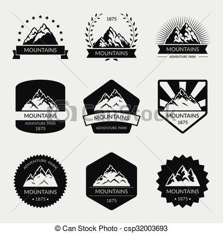 Peak clipart high mountain Set mountain logo of High