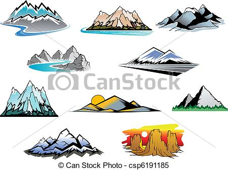 Peak clipart mountain sketch Mountain Set csp6191185 mountain peaks