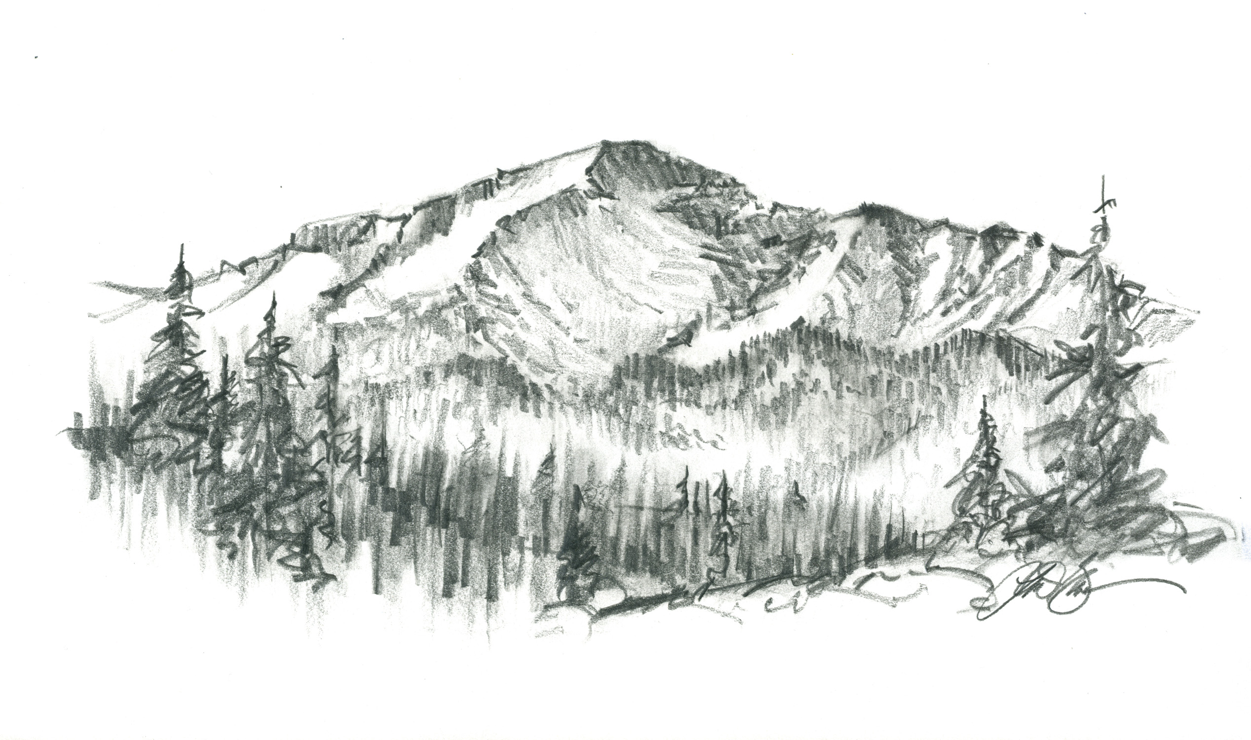 Peak clipart mountain sketch Paintings pikes pikes Google