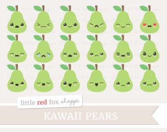 Pear clipart cute  Pear Apple Design Art