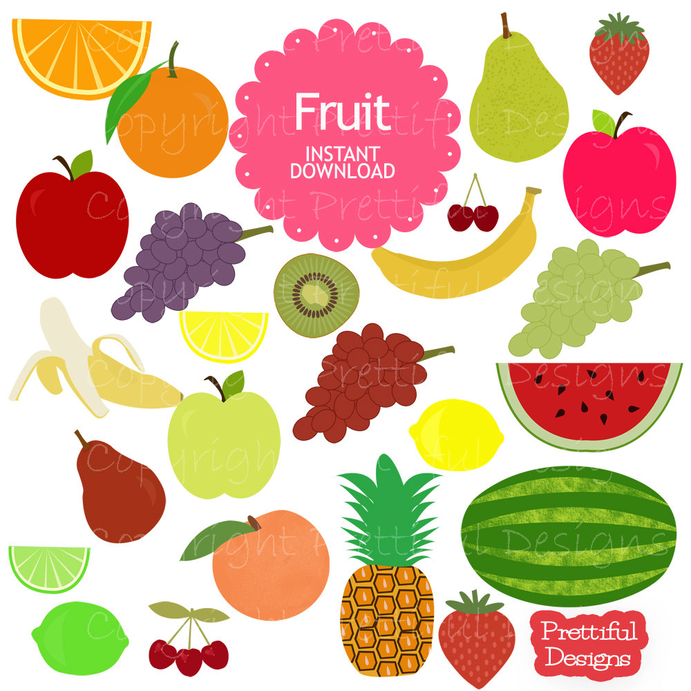 Pear clipart different fruit Art Clip and grapes for