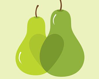 Pear clipart pair Pear on print (pear) Pair