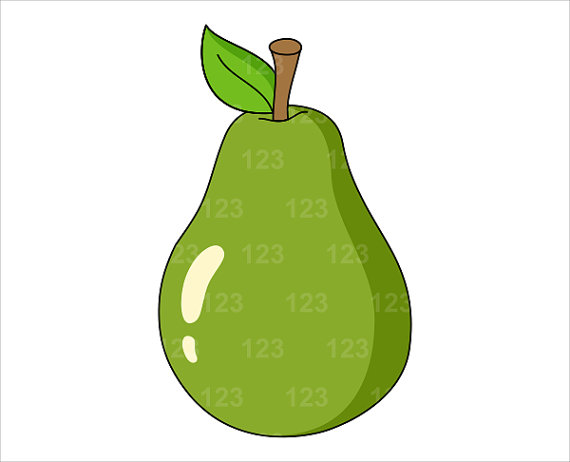 Pear clipart single fruit Green Clip Clip Digital to